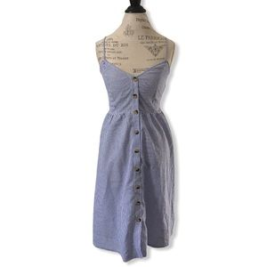 Pin Stripe Button Up Sundress with Lace Up Back